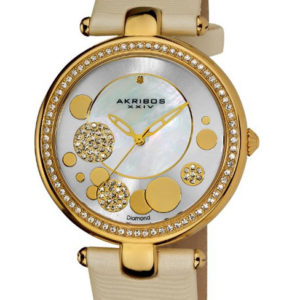 Akribos XXIV Diamond Silver Sunray Diamond Dial Quartz Strap Watch